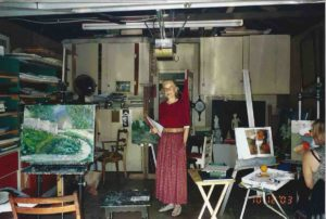 This is a photo taken of Mina's well known master art teacher Monique Baudaux in her art studio in October 2003. Mina tried most art media until she met Monique, who inspired her to do oil on canvas.